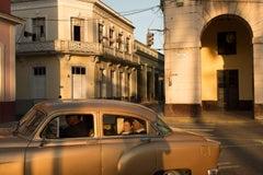 Cuba 4, Limited Edition, Color Photograph, Vintage Car, Gold, People, Travel,