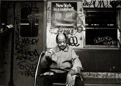 Subway 39 Small, Black & White, Photograph, NYC, 1970s, Subway, Nuts, Man