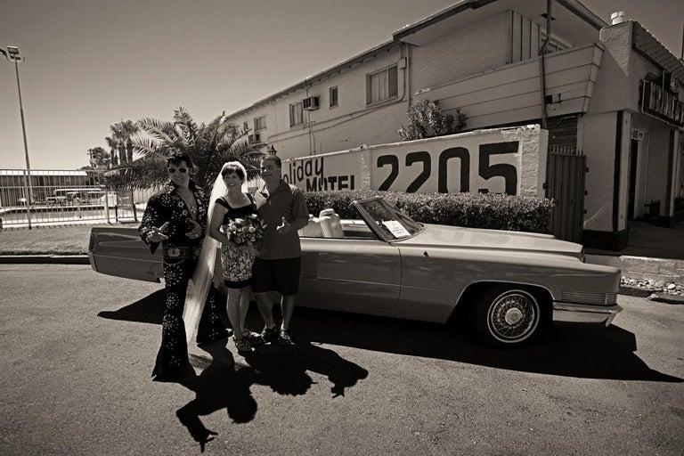 John Conn Black and White Photograph - The Americans #1, Limited Edition Photograph, Vintage Car, Elvis, Las Vegas
