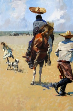 """""""Hats Off"""", John Cook, Oil on Canvas, Impressionism, Western, Cowboy, Horse"""