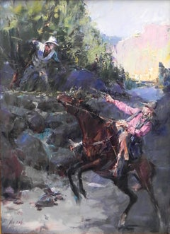 """Let's Talk This Over"", John Cook, Oil on Canvas, Impressionism, Western, Cowboy"