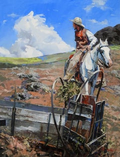"""Lookin Back"", John Cook, Oil on Canvas, Impressionism, Western, Cowboy, Horse"