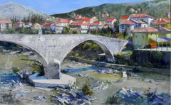 """""""Medieval Bridge at Ronco, Italy"""", John Cook, Oil on Canvas, Impressionism"""