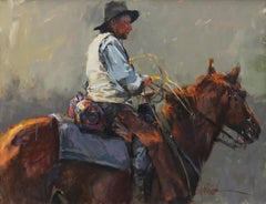 """""""Miles To Go"""", John Cook, Oil on Canvas, Impressionist, Western, Cowboy, Animal"""
