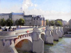"""Pont Neuf"", John Cook, Oil on Canvas, Impressionist, Paris, France, Bridge"