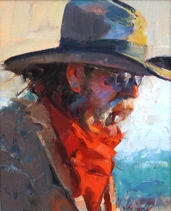"""Red Scarf"", John Cook, Impressionism, Western, Cowboy, Hat, Portrait on Board"