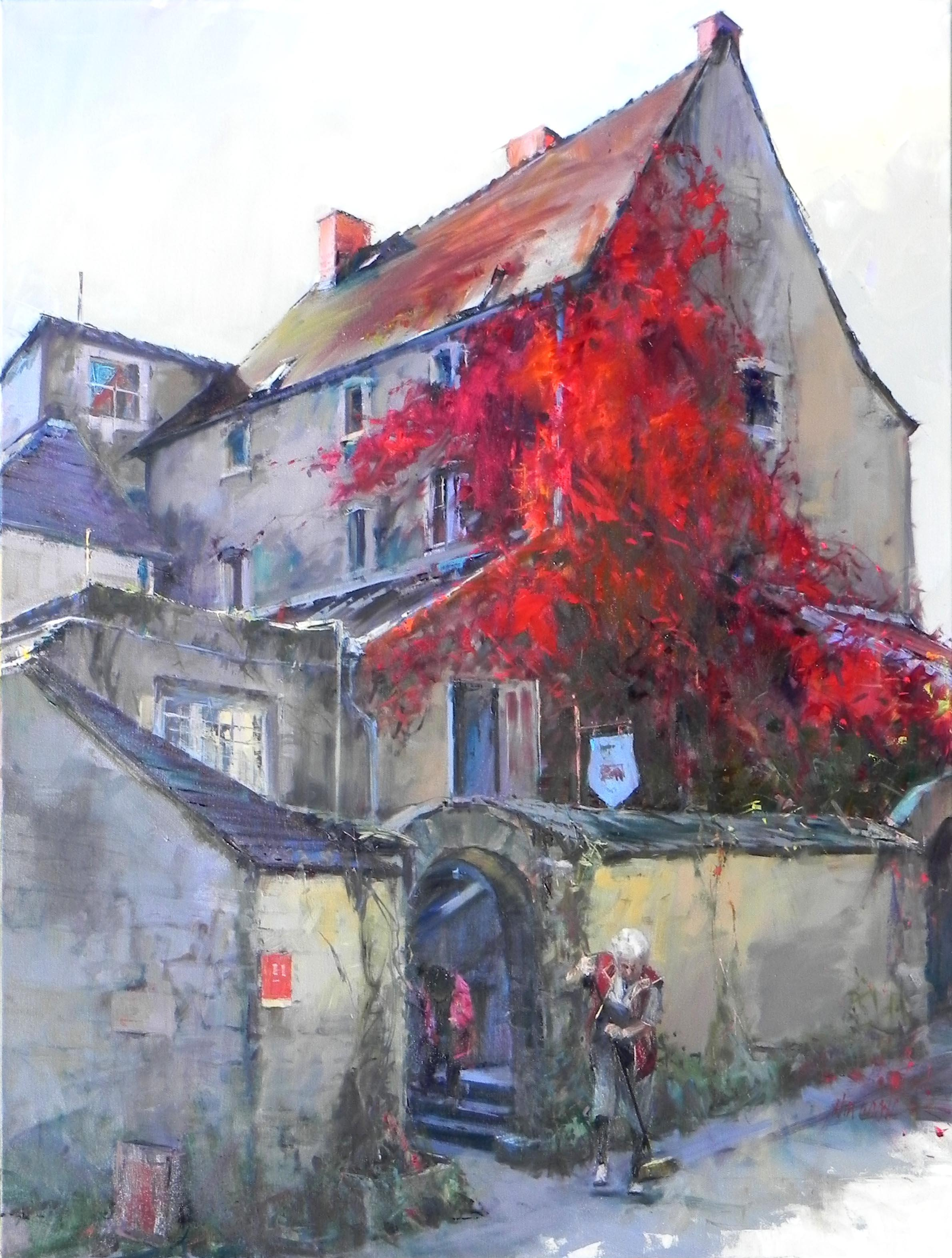 """""""Red Vines"""", John Cook, Oil on Canvas, Impressionist Painting of Vines on House"""