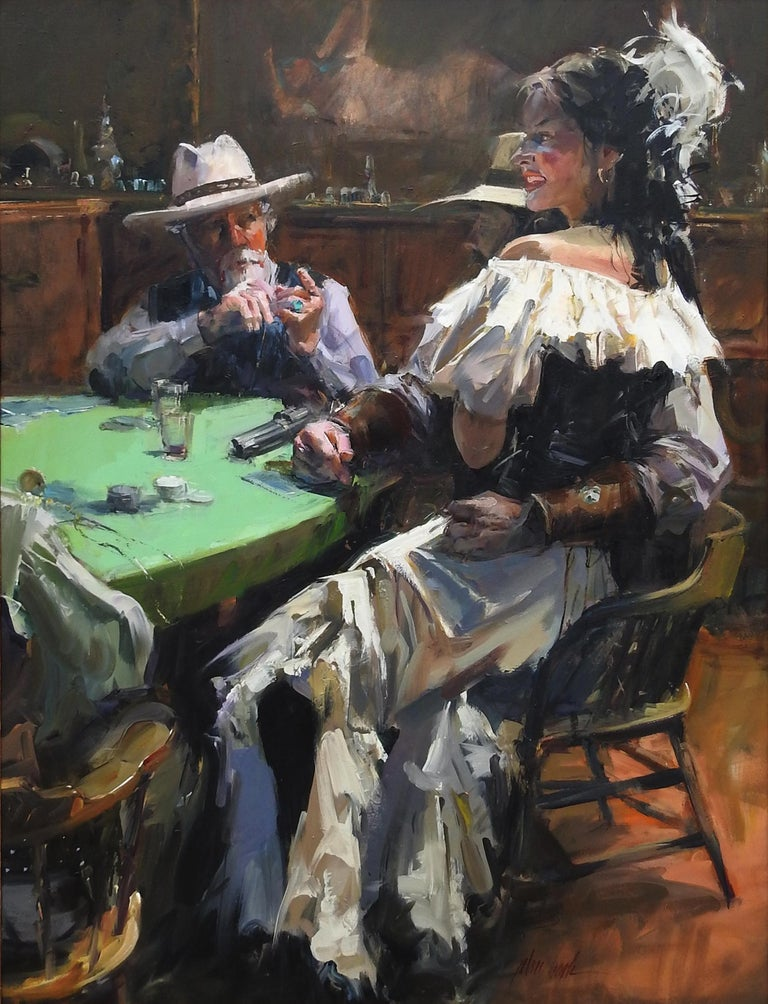"""The Discussion"", John Cook, Oil on Canvas, Impressionism, Western, Cowboy - Painting by John Cook"
