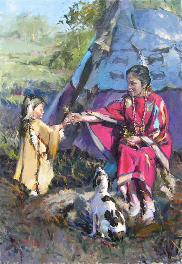 """""""The Gentle Gesture"""", John Cook, Oil on Canvas, Impressionism, Native American - Painting by John Cook"""