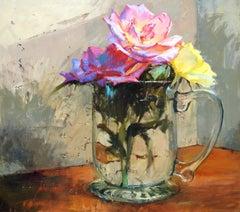 """Three"", John Cook, Oil on Canvas, Impressionist, Still Life, Flowers In A Jar"