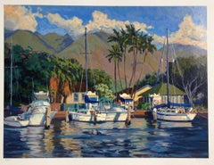 """Afternoon Glow"" Colorful Serigraph of Lahaina Harbor"
