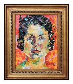 John Costigan Original Oil Painting on Canvas Signed Female Portrait Framed Art