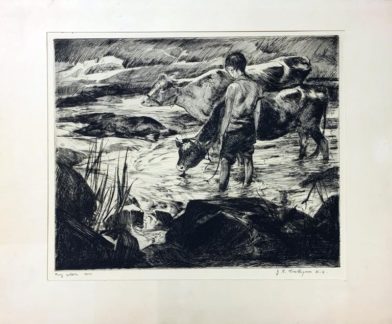 John Costigan Limited Ed. Signed Original Etching BOY WITH COWS - Print by John Costigan