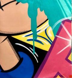 "Untitled (Popeye) 2021, John ""CRASH"" Matos, Spray Paint on Canvas-Figurative"