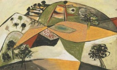 Landscape (Spetses, Greece) - 20th Century, Mixed media on paper by John Craxton