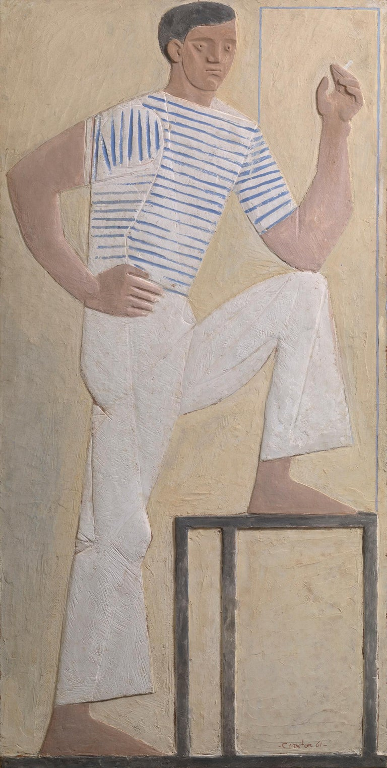 Acrylic on polyfilla on board Signed lower right Inscribed `Standing Figure' verso