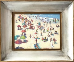 """Aerial View of a Day at the Beach"" Colorful Post-Impressionist Oil Painting"