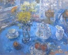 Blue Still Life - original floral object oil painting contemporary modern art