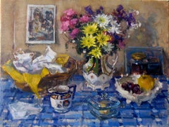 Breakfast Table with Flowers - still life oil painting contemporary modern
