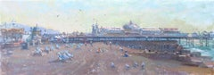 First Deckchairs Palace Pier original landscape  oil painting 21st Century