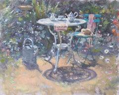 High Summer - original garden home still life oil artwork 21st Century Modern