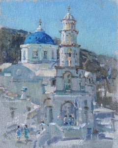 Pyrgos Santorini - Original Greek landscape painting contemporary modern art