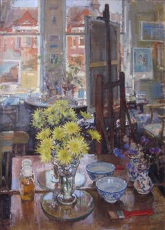 Studio painting with Flowers - oil interior painting contemporary impressionist