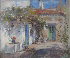 Summer Courtyard original home landscape oil painting Contemporary Impressionism