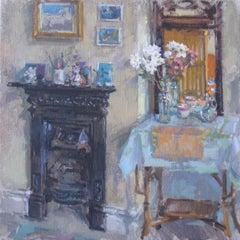 The Fireplace - Interior Still Life Painting contemporary modern art