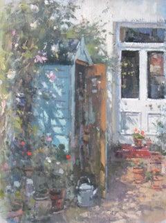 The First Nelly Moser - original garden oil painting 21st Century Modern Art