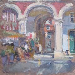 Towards the Fish Market - Original city landscape painting contemporary modern