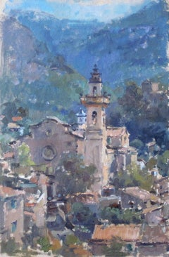 Valldemossa Morning - landscape painting vibrant contemporary modern colourful