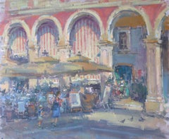 Waiting for the Customers - original City landscape painting modern 21st Century