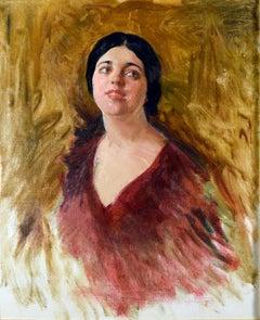 Oil Painting portrait of Rosa Ponselle, American Opera Singer, John Da Costa