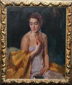 Portrait of Christine Bonnar, Artist's Wife - British 1930 Art Deco oil painting