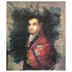 John Dawson Exceptionally Large Surreal Signed Oil on Canvas Painting Napoleon