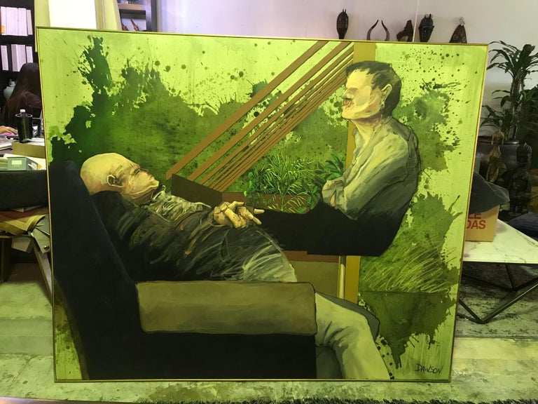 John Dawson Signed Exceptionally Large Surreal Oil Painting of Two Figures For Sale 1