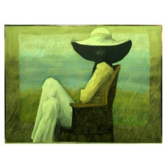 John Dawson Exceptionally Large Surreal Signed Oil Painting the Shady Lady, 1994