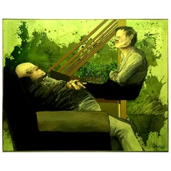 John Dawson Signed Exceptionally Large Surreal Oil Painting of Two Figures