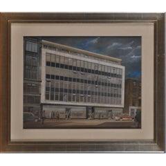 JDM Harvey, 'Design for Modernist Building' (1965) gouache architectural drawing