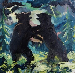 Bears Fighting in a Lightning Storm