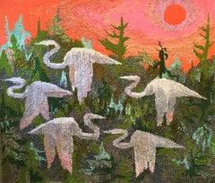 Egret Sunrise (Against the Sunrise)