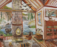 Gibbon River Retreat with Fish Chandelier Moran and Eagle Lamp