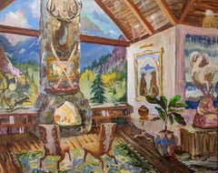 Ski Cabin with Big Butt, Wolves Staring at Rainbow Tapestry and Fawn Chairs