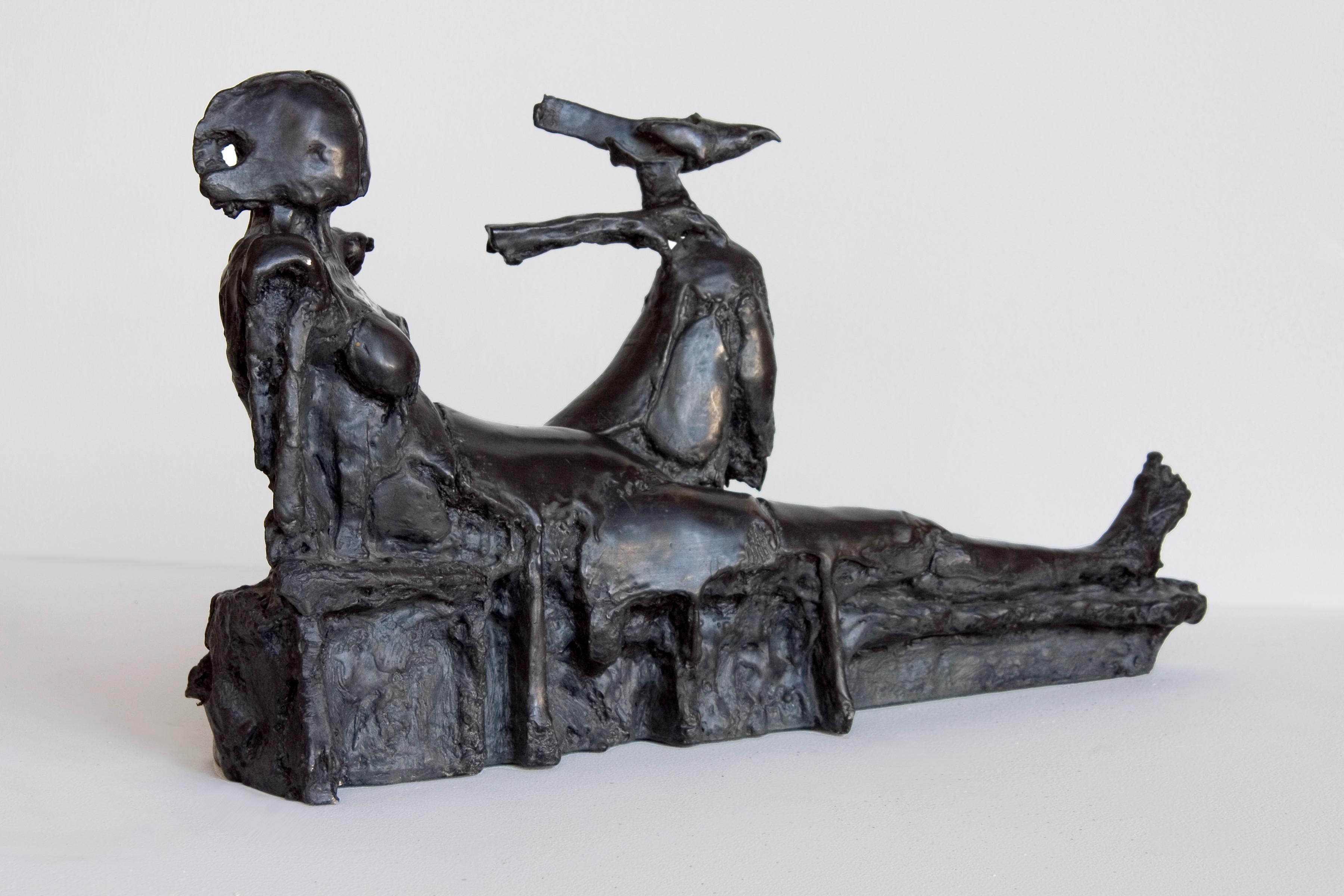 Reclining Figure with Bird bronze pedestal sculpture