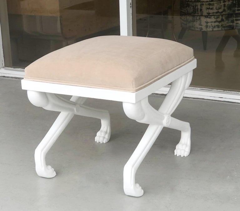 American John Dickinson Style Modern Paw Stool Bench For Sale