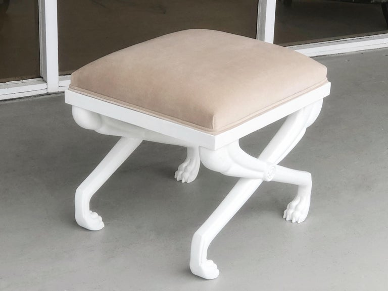 Cast John Dickinson Style Modern Paw Stool Bench For Sale