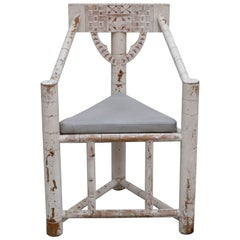 John Dickinson Styled Three-Legged Corner Chair with Tribal Styled Carvings