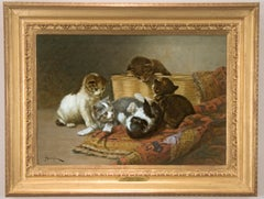 Painting of kittens at Play by American painter, John Henry Dolph