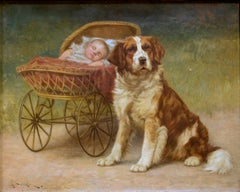 Painting of St. Bernard Dog with baby by American painter, John Henry Dolph